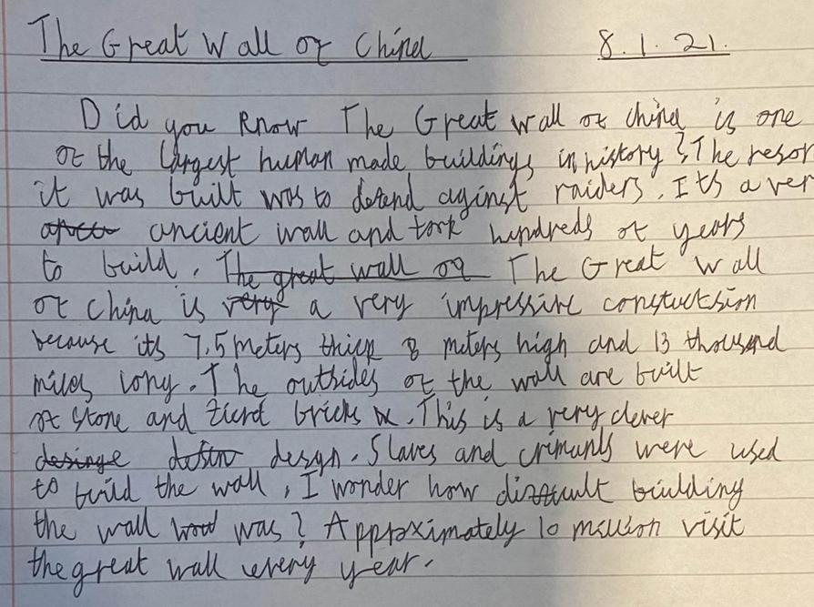 Great wall of China writing by Talia!  Great!