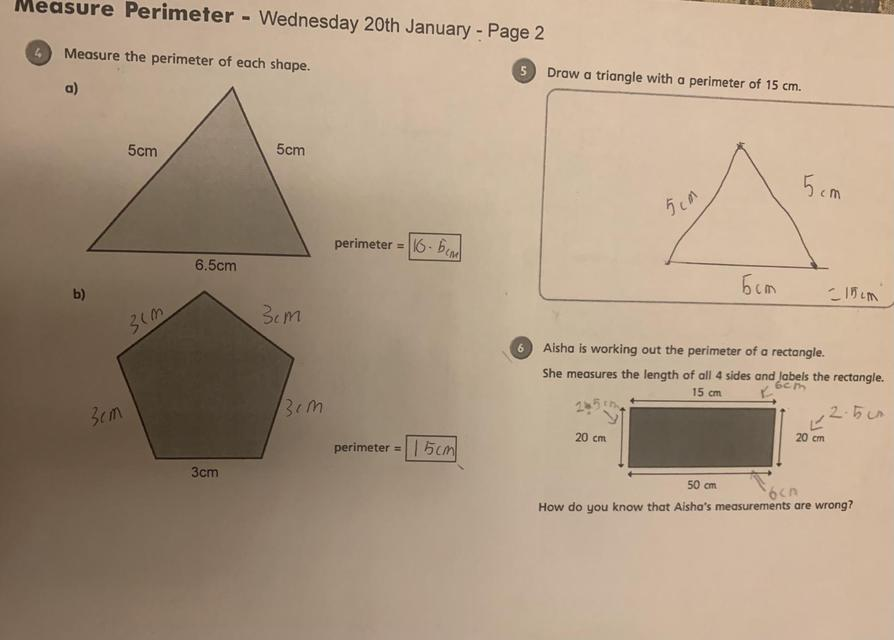 Super perimeter maths work by Noah