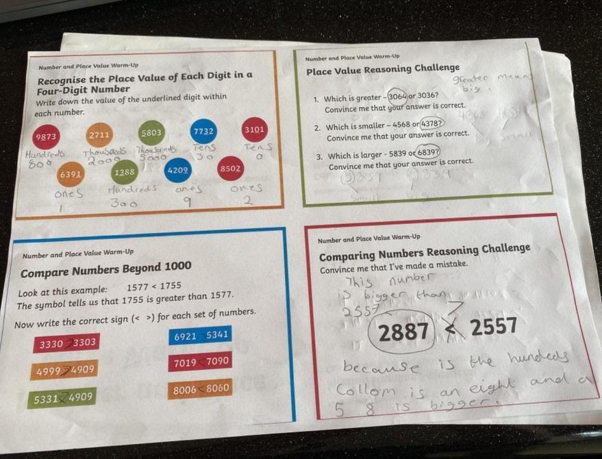 Maths work by Sienna!