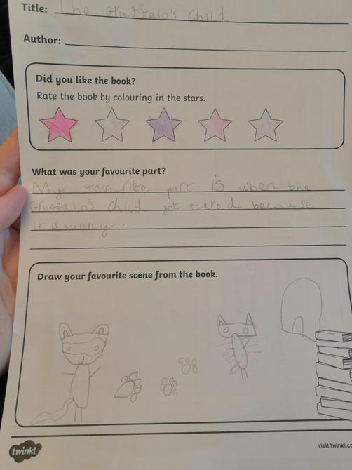 Fantastic book review Tessa, well done!