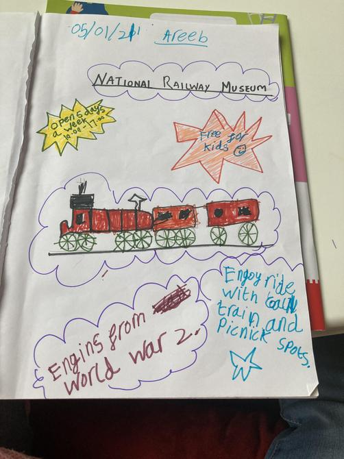 Great poster about the National Railway Museum, Areeb - I love the bright colours!