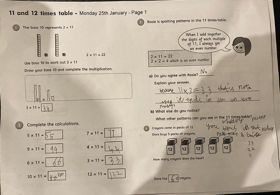 11 and 12 times tables by Talia