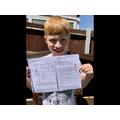 Harry completing some comprehension tasks