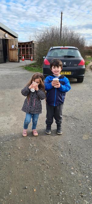 Enjoying a hot chocolate at Jeskyn's - yum!