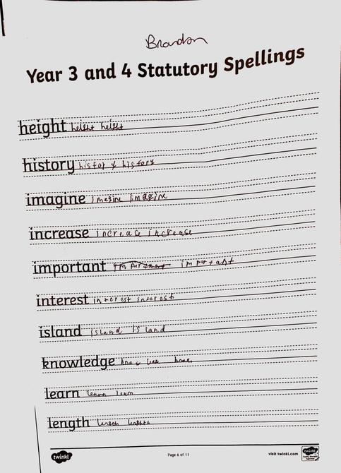 Well done Brandon, lovely handwriting!