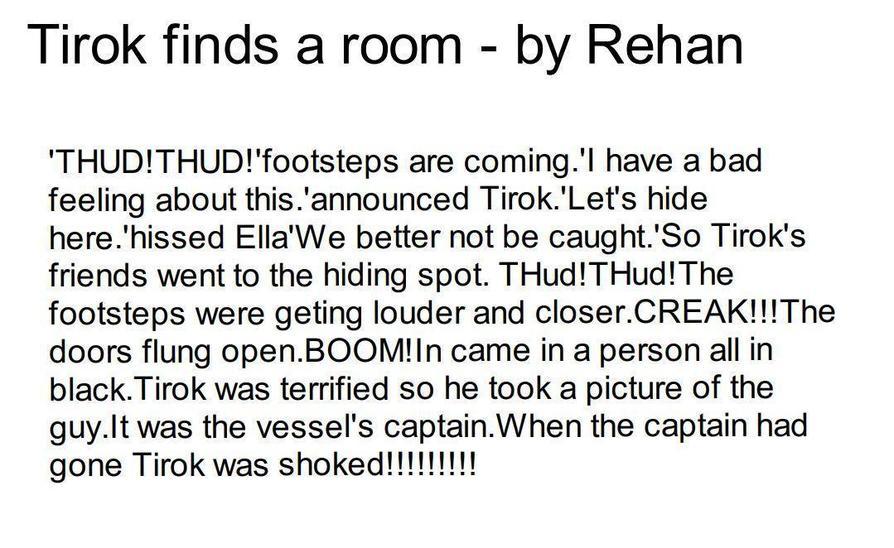 Rehan's next part of the Tirok story.