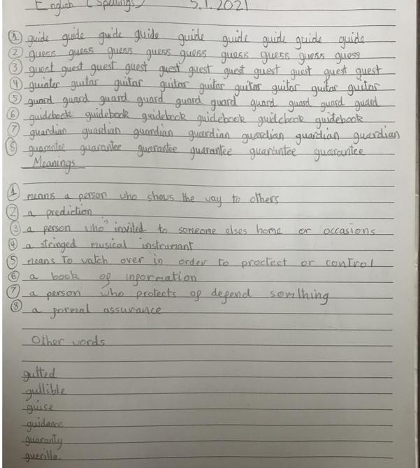 Handwriting and dictionary skills by Aarya