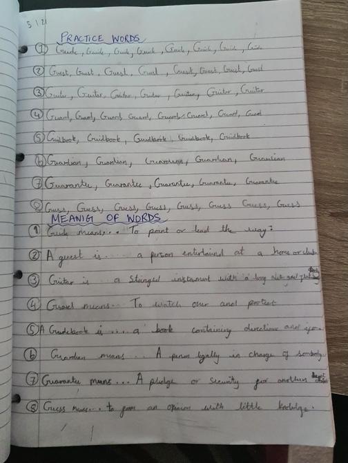 Bhuvi' s dictionary and writing