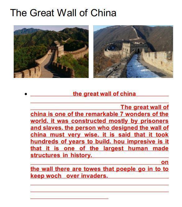 Great Wall of China - final piece by Matthew!