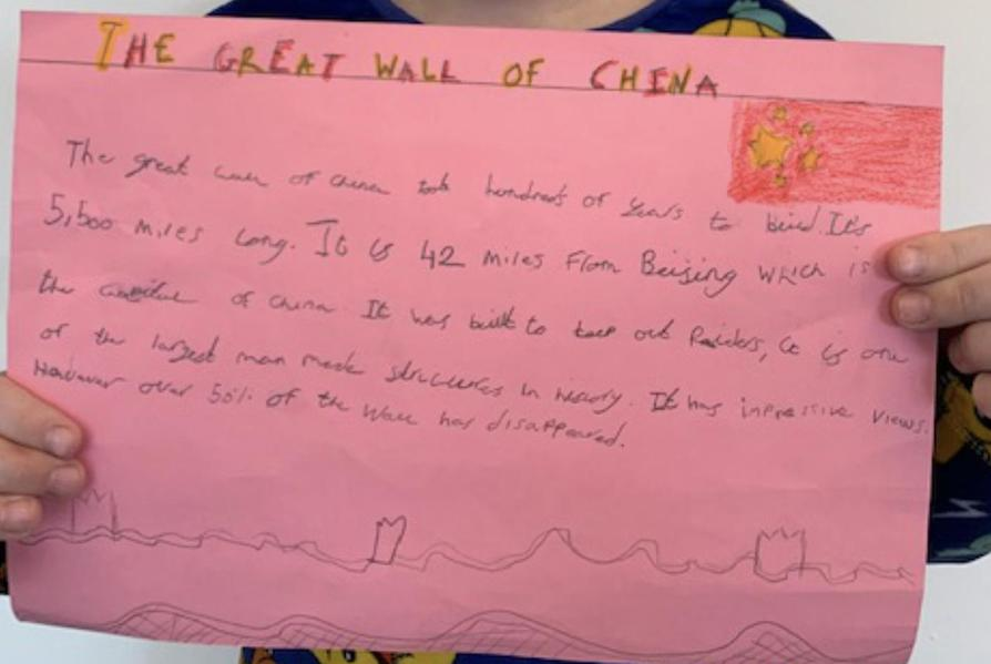 Jack's lovely work about the Great Wall of China