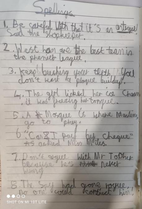 Lovely handwriting and super spellings!