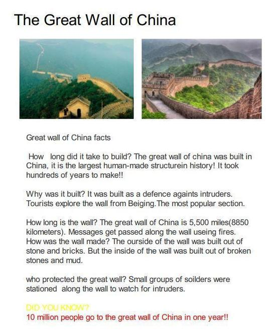 Great Wall of China - final piece by Grace!