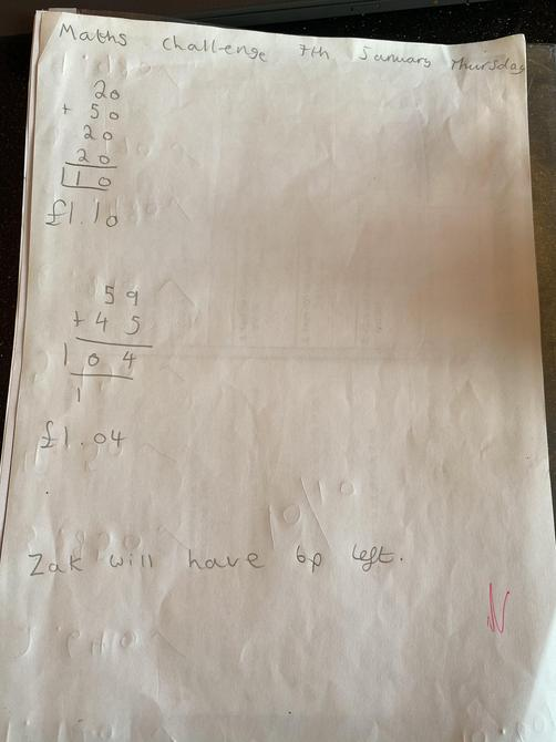 Maths problem solving by Sienna