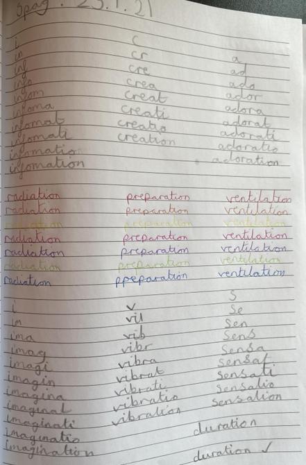 Very good spelling practice Sienna!