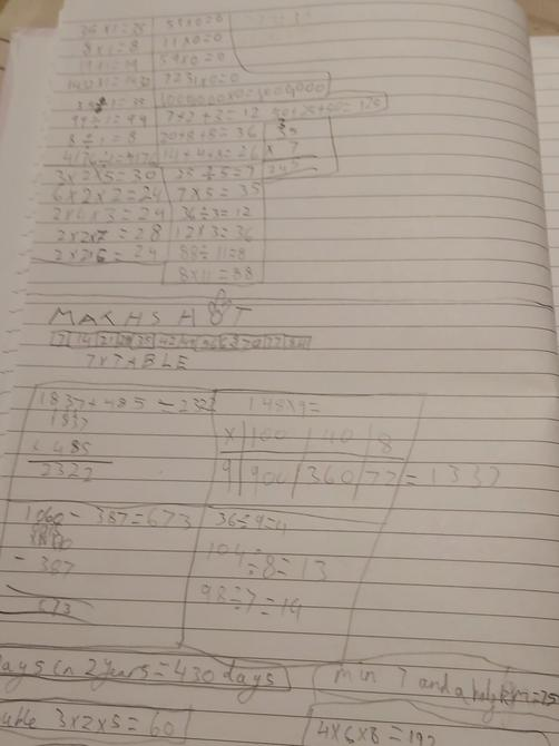 Rehan has been very busy with excellent Maths work!