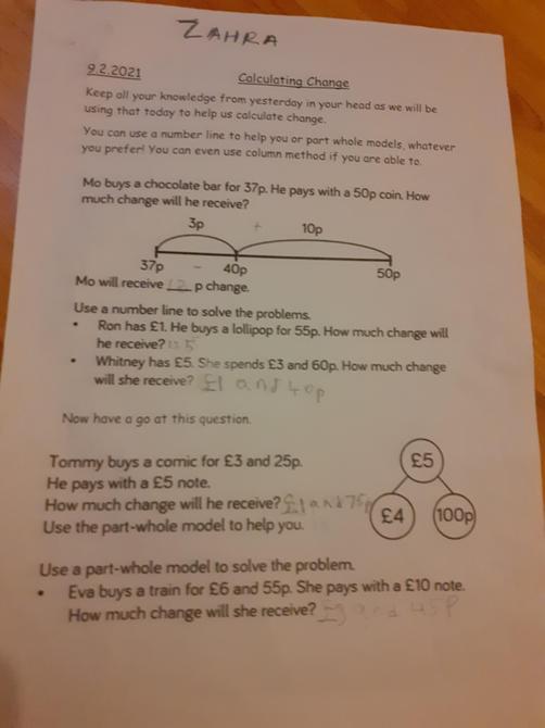 Great maths work Zahra!