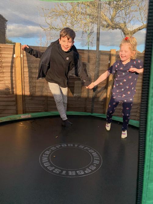 Having fun on the trampoline!