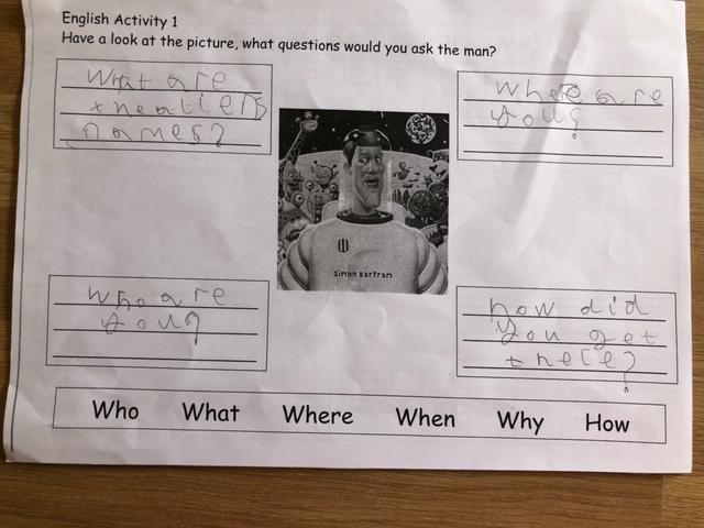 Super questions Amelia, well done for using different question starters