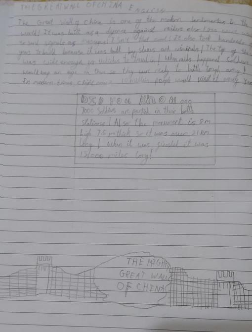 Lovely writing about by Great Wall of China by Rehan