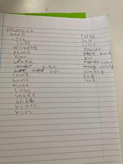 Great Phonics Ella, you have worked really hard