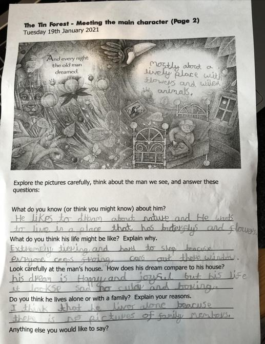 Matthew's ideas about the main character in 'The Tin Forest'
