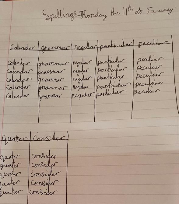 Spelling practice by Alesha!