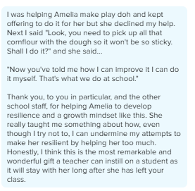 A Class Dojo message to one of our staff