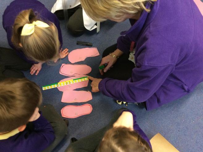 Measuring foot length.