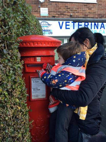 He needed a little help to post the letter!