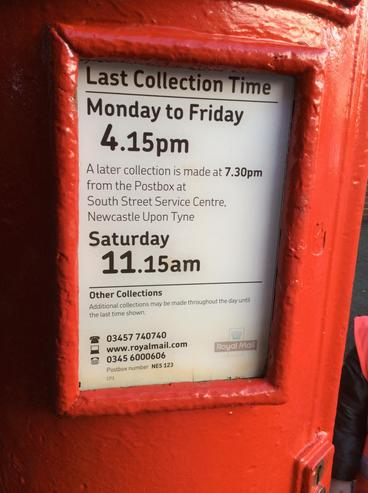 Ask about the time our letter will be collected.