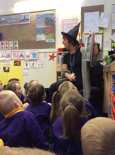 We listened to the story of  'Winnie the Witch'.