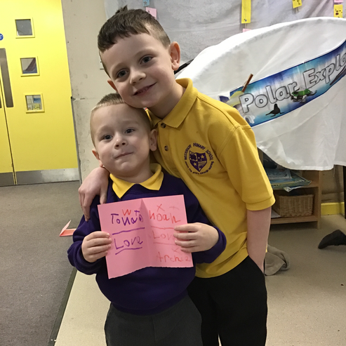 Lovely friends appreciating a valentine message