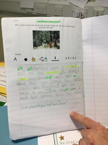 Year 1 writing shows application of phonics
