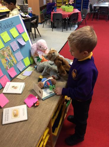 Our learner exploring our Peter Rabbit table.