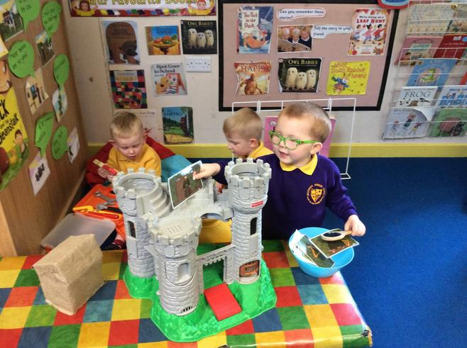 Jack climbed the beanstalk to the castle.