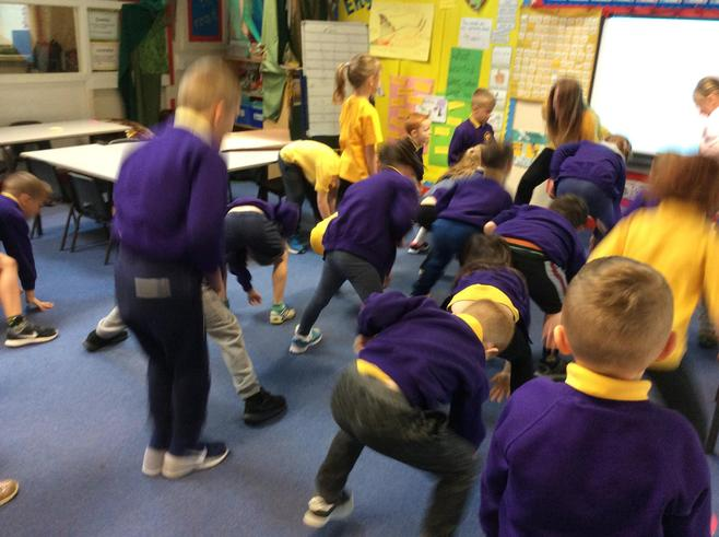 We did some exercises to raise our heart rate.
