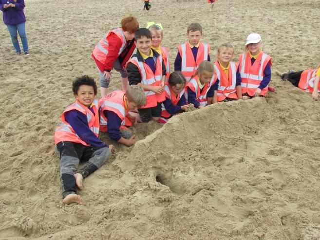 We made Uluru in the sand.  Great team work!