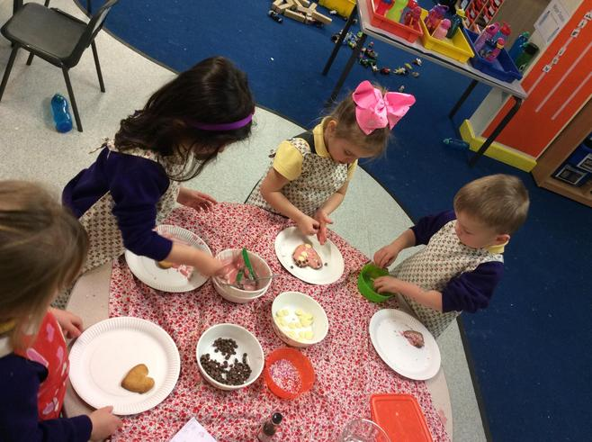 Decorating our biscuits