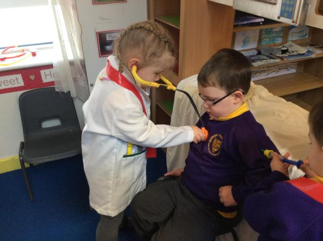 Using a stethoscope.  Well done!
