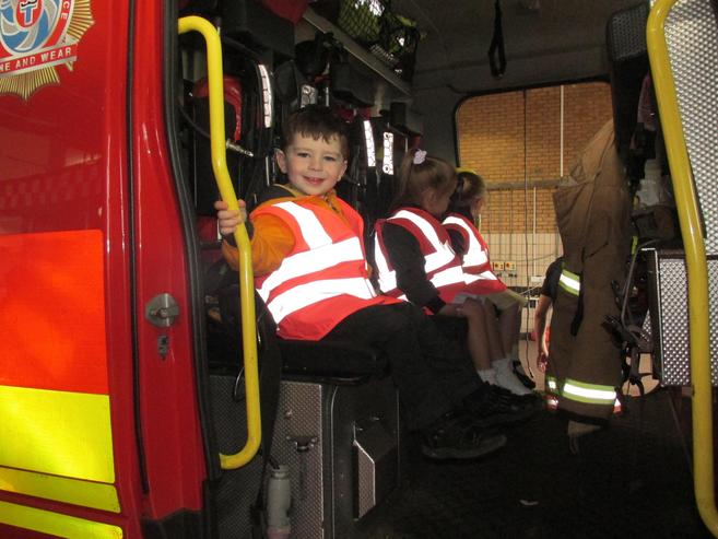 In the fire engine