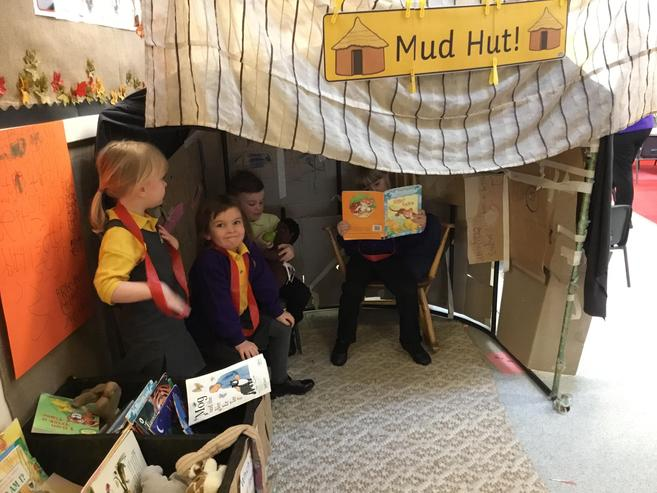 Always time for a spot of reading in the Mud Hut!
