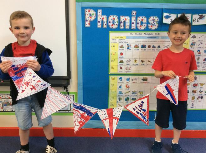 We made fantastic bunting to decorate the yard.
