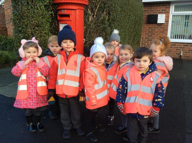 Red stars enjoyed their walk to the post box.