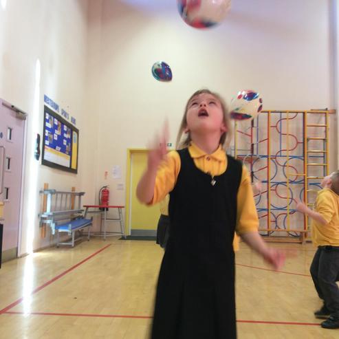Great fun developing motor skills with balloons
