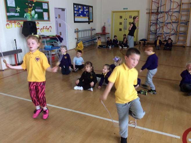In sports week, we practised skipping...
