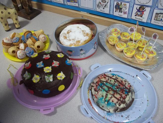 Our colourful cakes for Children in Need.