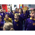 We warmed up our faces before singing!