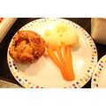 Vegetable muffin with mashed potato lolly