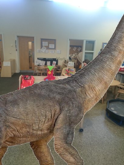The diplodocus came in looking for leaves to eat