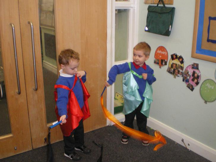 Lucas and Jack 'doodlesticking'